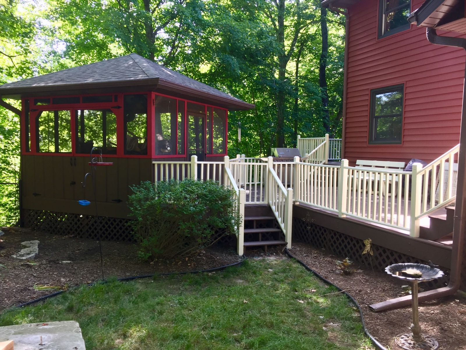 After Painting Railings, Decks and Hot Tub Area